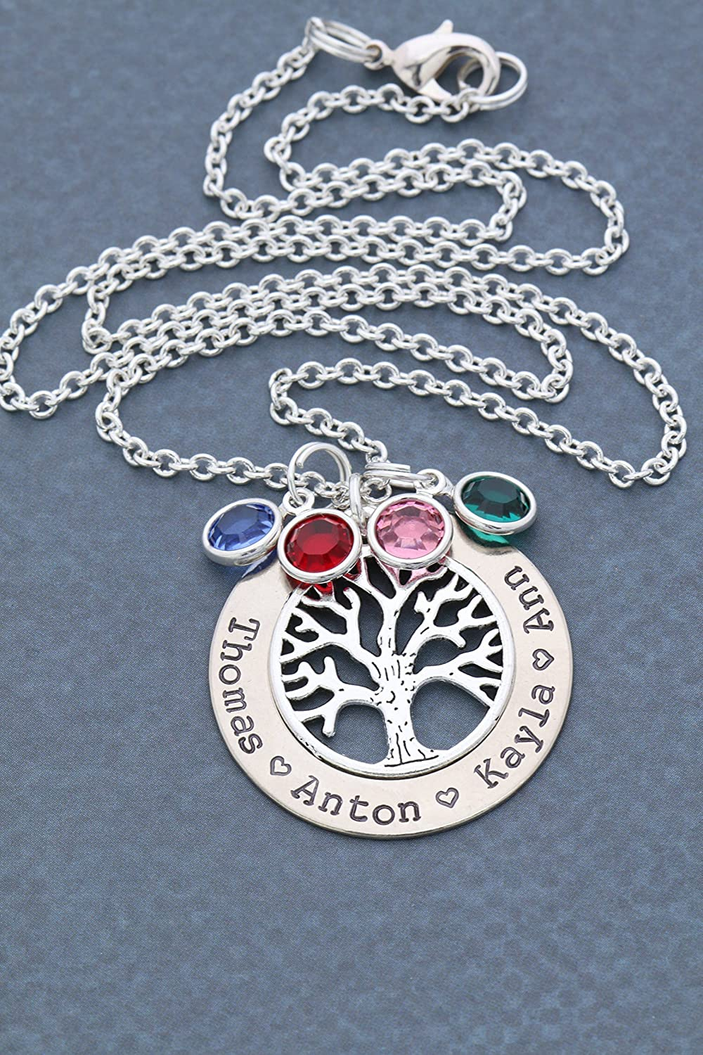 Silver Family Tree Necklace - DII ABC - Grandma Gift - Personalized Children's Name Mother Birthstone Jewelry - 1.25 Inch Washer Swarovski Crystals