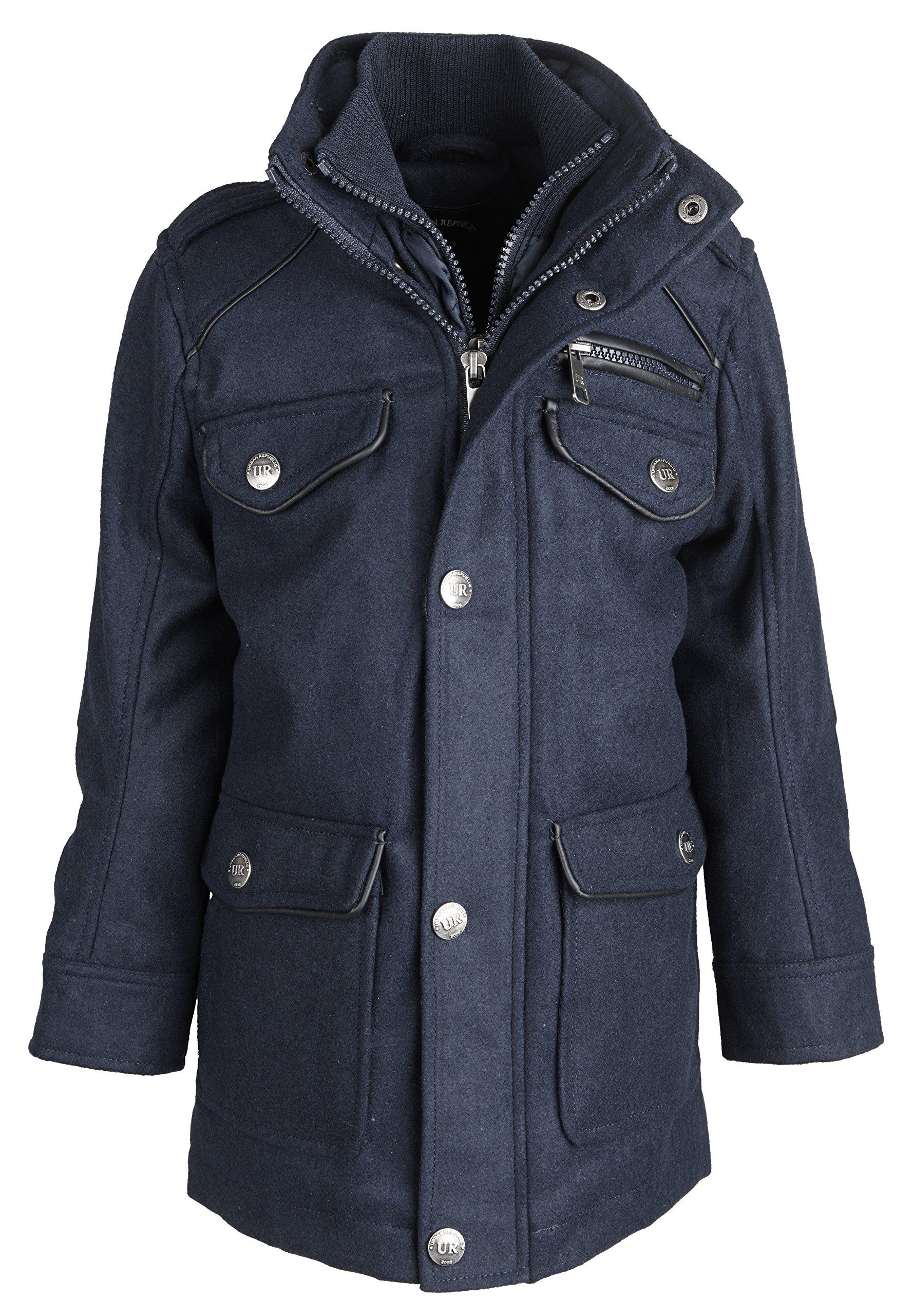 Urban Republic Little Boys Classic Wool Blend Padded Winter Jacket Vestee - Navy (Size 4)