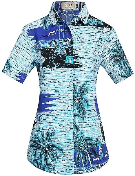 SSLR Camisa Blusa Mujer Hawaiana Manga Corta Casual Estampado Tropical (X-Large, Azul