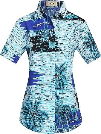 SSLR Camisa Blusa Mujer Hawaiana Manga Corta Casual ...