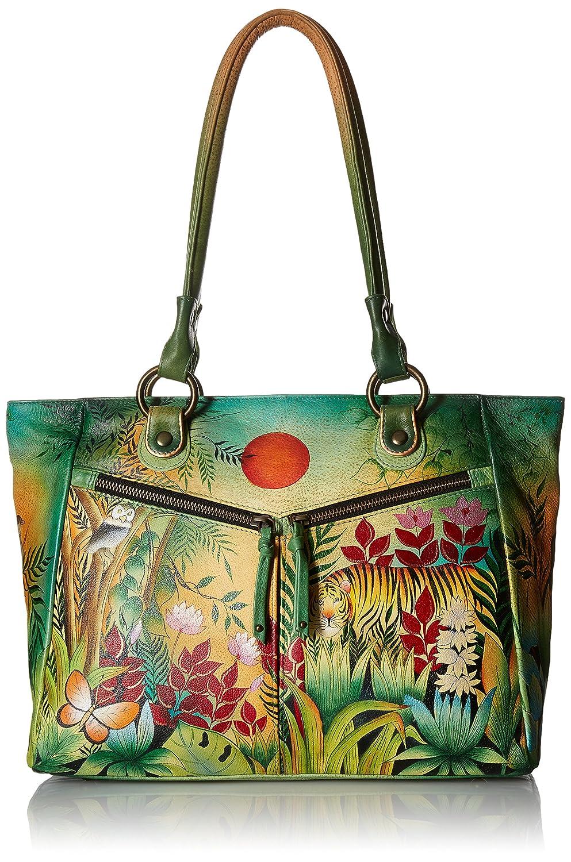 ANUSCHKA peint à la main de luxe en cuir–562Grand Shopper avec poches avant - multicolore - Rousseau's Jungle, Taille L 562-RSJ-1