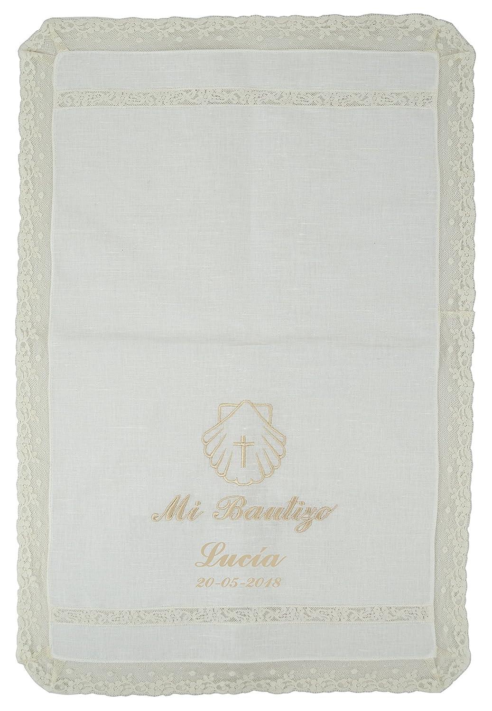Personalizado Modelo Par/ís Pa/ño bautismal color beige bordado con el mensajeMi Bautizo
