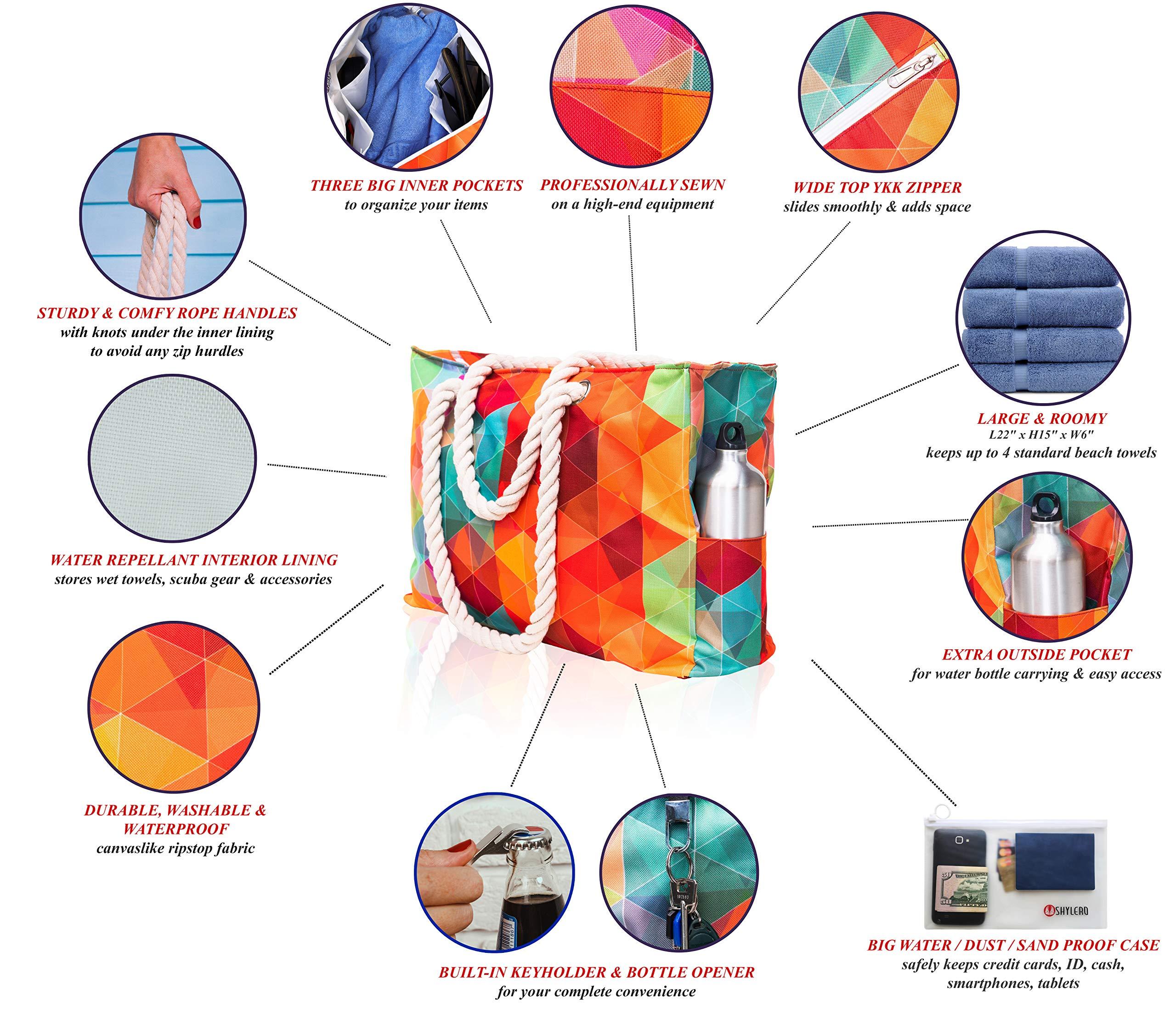 Beach Bag XL. Waterproof (IP64). L22 xH15 xW6 w Cotton Rope Handles, Top Zip, Two Outside Pockets. Vibrant Rainbow Tote Has Waterproof Phone Case, Built-in Key Holder, Bottle Opener