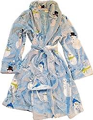 Sleep Sense Blue Snowmen and Snowflakes Women s Plush Bathrobe 49479ed8f