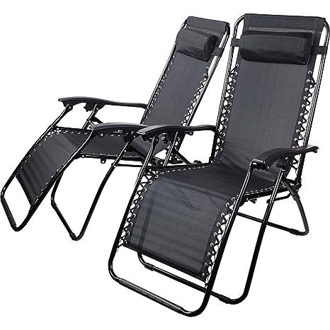 Sedie E Sdraio Da Esterno.Sedie Sdraio Reclinabili Nere Textoline Zero Gravity Da Esterno Giardino Ideali Per Prendere Il Sole 2 Pezzi