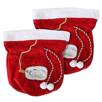 Amazon.com: Christmas Gift Bags, Santa Gift Bags, Set of 2 Santa ...