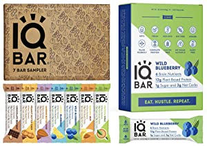 IQBAR Keto Protein Bars Bundle (19 Bars) - Gluten-free, Dairy-free Low Carb Protein Bars and Vegan Snacks - 12 Wild Blueberry Protein Bars + 7 Bar Sampler Keto Snacks