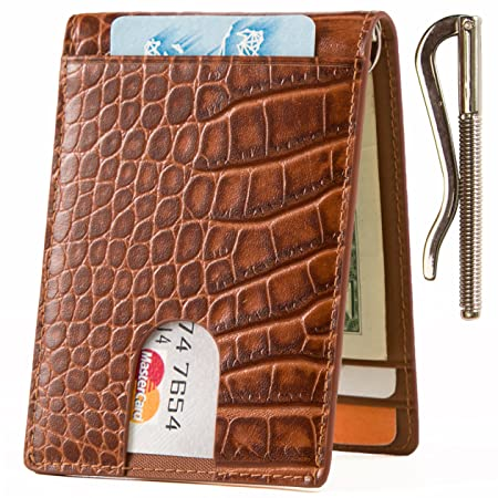 d7dd021d1b63 Lethnic Slim Money Clip Wallet, Bifold Leather Business Card Holder With ID  Window