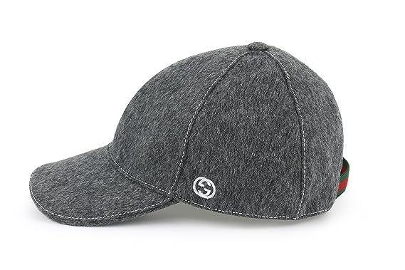 662b61b8 Amazon.com: Gucci Signature Web Stripe Wool Baseball Cap, Charcoal 353505  (L (Large)): Clothing