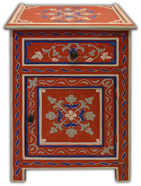 In rosso Marrakech Dipinto a mano marocchina cassetto 1 /& 1 porta un comodino W45 D30 H65 CM