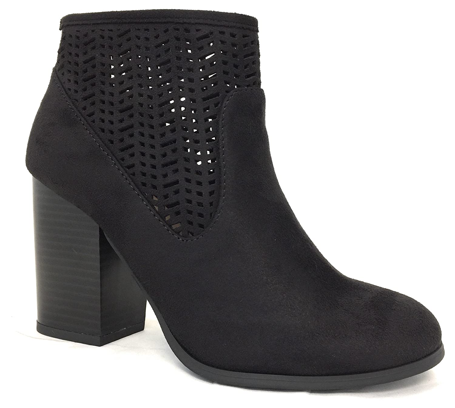 MYRA BLACK IMITATION SUEDE NB 3.5 INCH BLOCK CHUNKY HEEL BOOTIE ANKLE BOOT LASER CUTOUT