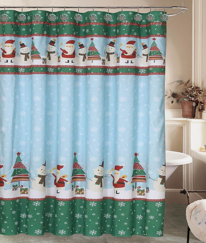 Holiday Fair Isle Rustic Deer Sweater Snowflake Shower Curtain 12 Resin Hook Rings Bathroom Set
