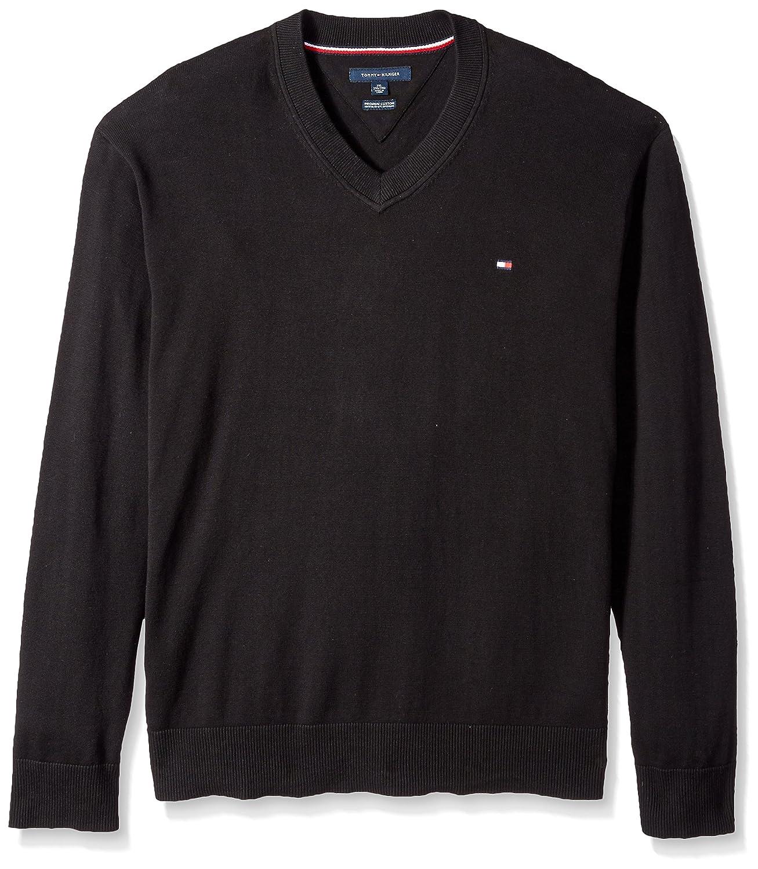 e6c6beac4d8 Tommy Hilfiger Men's Big and Tall Sweater Signature Solid V Neck