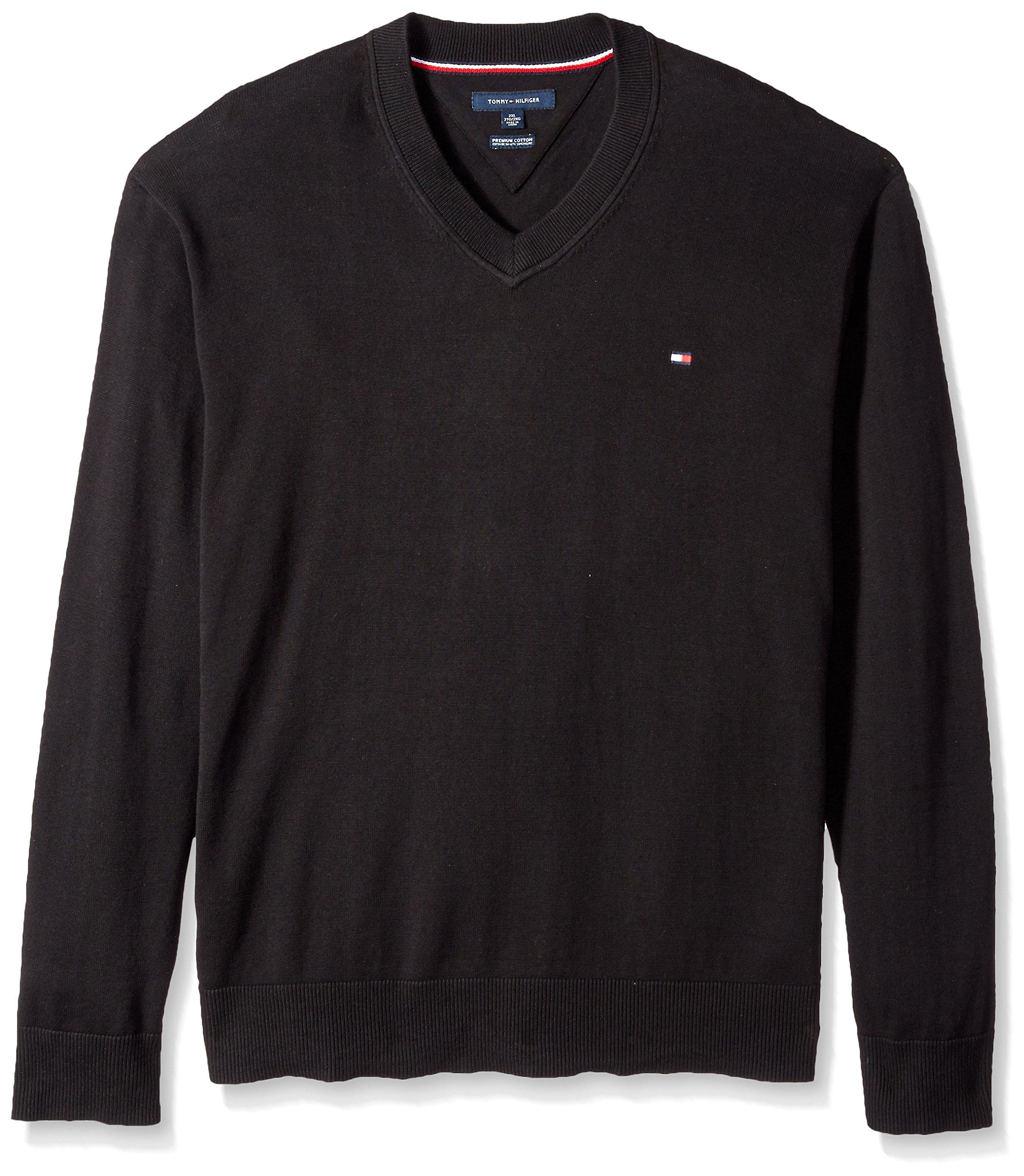 Tommy Hilfiger Men's Big and Tall Sweater Signature Solid V Neck, Deep Knit Black, BG-3XL