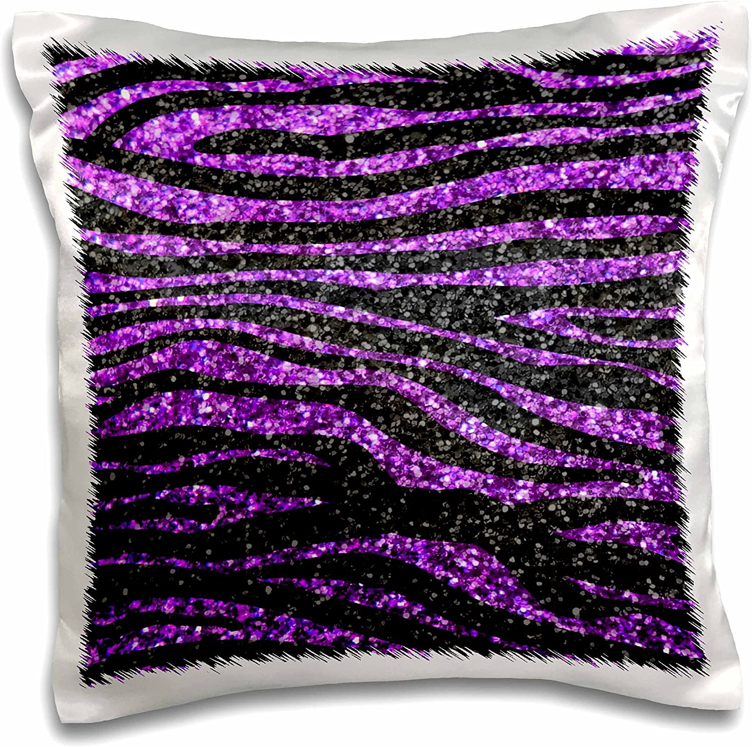 """3dRose Purple and Black Zebra Stripe Print Faux Bling Photo Not Actual Glitter Glittery Sparkles Sparkly-Pillow Case, 16 by 16"""" (pc_113175_1)"""
