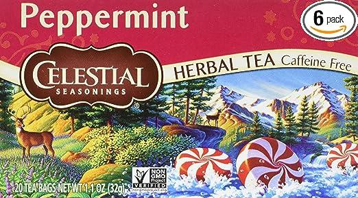Celestial Seasonings Herbal Tea, Peppermint, 20 Count (Pack of 6)