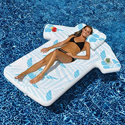 "68"" Blue and White Swimming Pool Inflatable Cabana Shirt Tropical Float: Toys & Games"