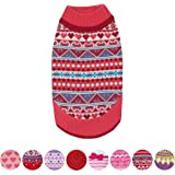 Blueberry Pet Fair Isle Style Sugar Coral Pullover Dog Jumper with Valentine Heart, Back Length 51cm, Pack of 1 Clothes for Dogs