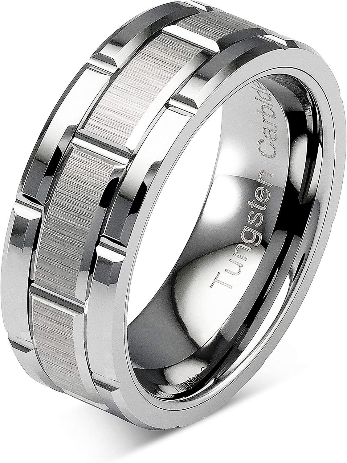 100S JEWELRY Tungsten Rings For Men Wedding Band Silver Brick Pattern Brushed Engagement Promise Size 6-16