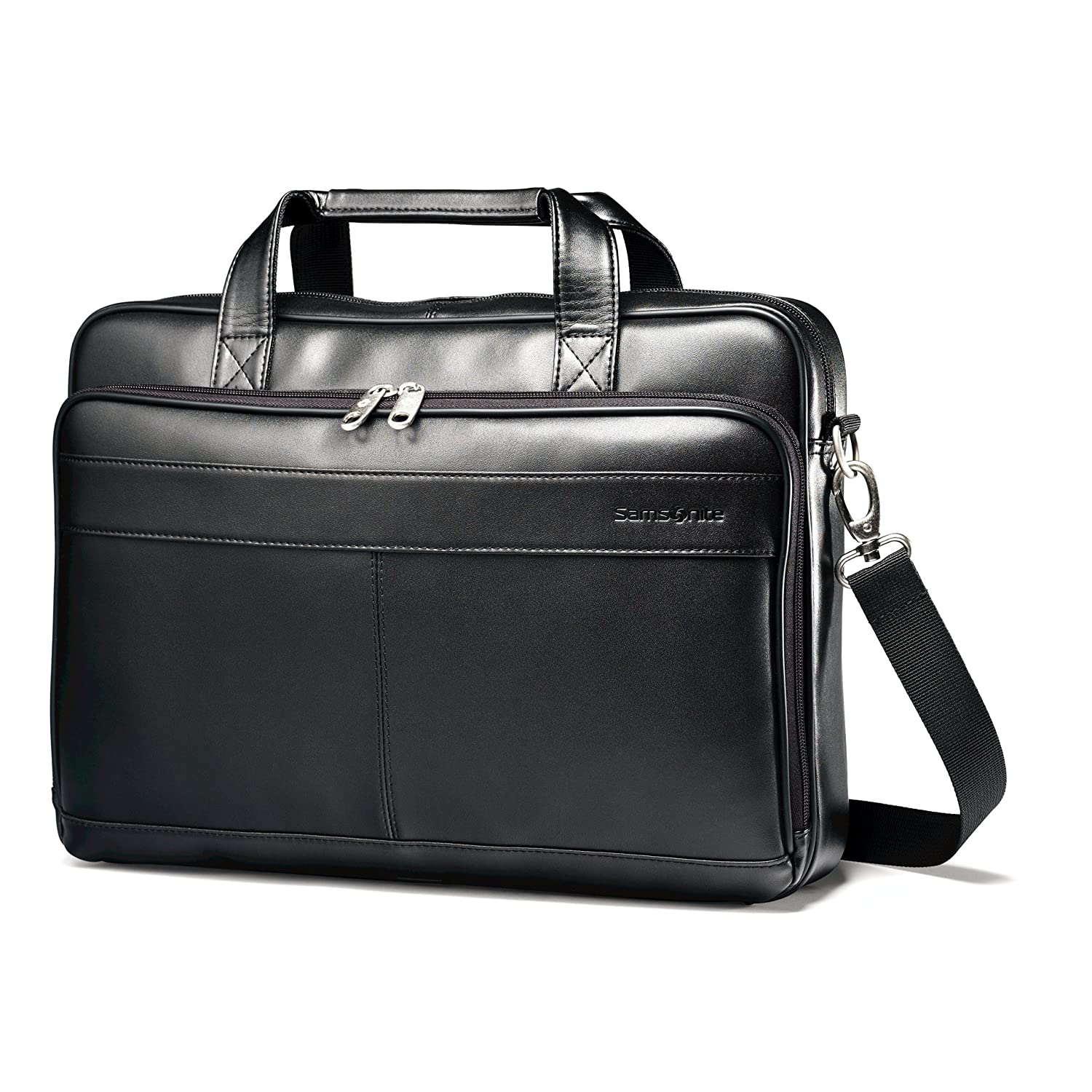 Samsonite Luggage Leather Slim Briefcase, Black, 16 Inch 48073