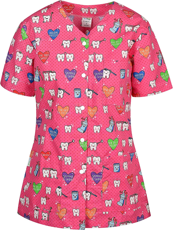 DINOZAVR Carina Uniforme Sanitario Camisa Médica con Botones a presión y Cuello en Y para Mujeres