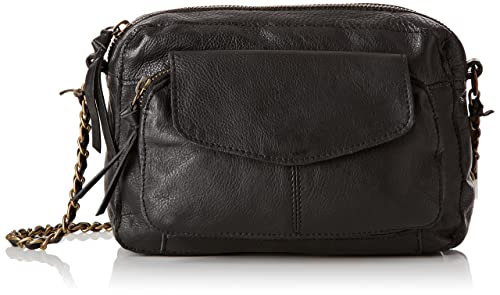 Pieces Ps Naina Leather Cross Over Bag, Women's Shoulder Schwarz
