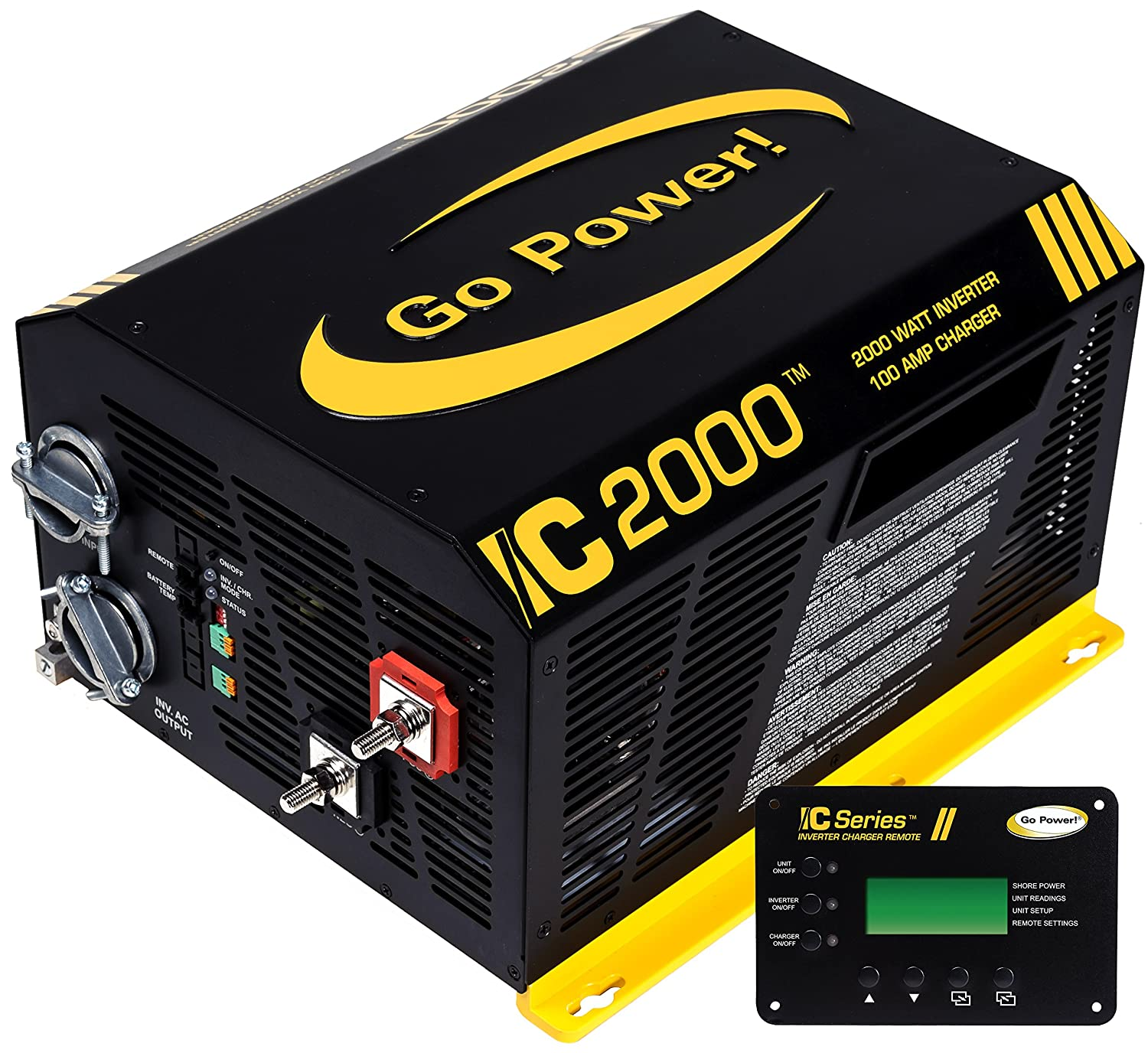 Go Power! GP-IC2000-12-PKG Pure Sine Wave Inverter (2000 Watt with 100 amp Charger Includes ICR-50 Remote)