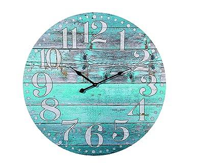 Out of the blue Reloj de Pared de Madera, Vintage Blue, Azul, 58