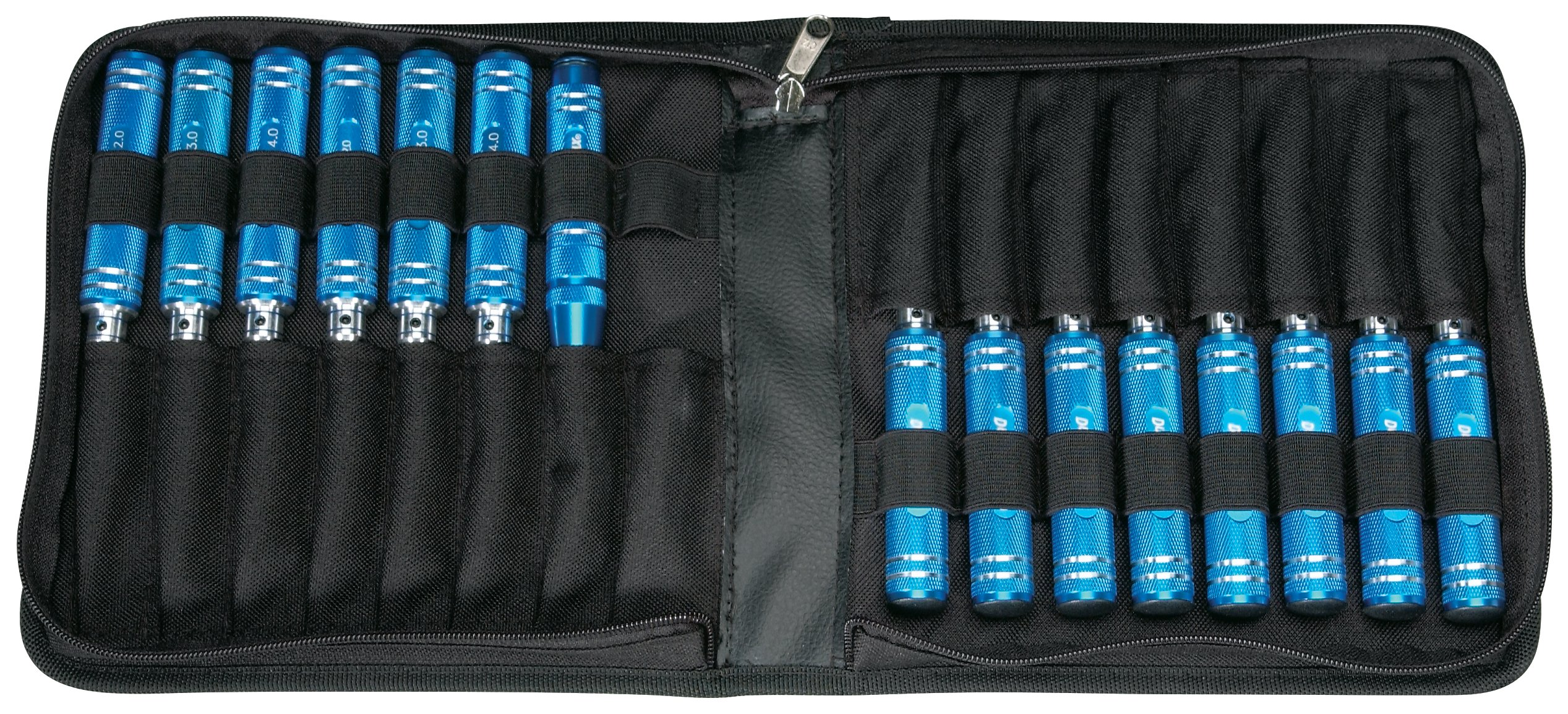 Duratrax Ultimate Tool Set with Slotted Screwdrivers, Phillips Screwdrivers, Metric and SAE Hex Drivers, Body Reamer, and Nylon Pouch