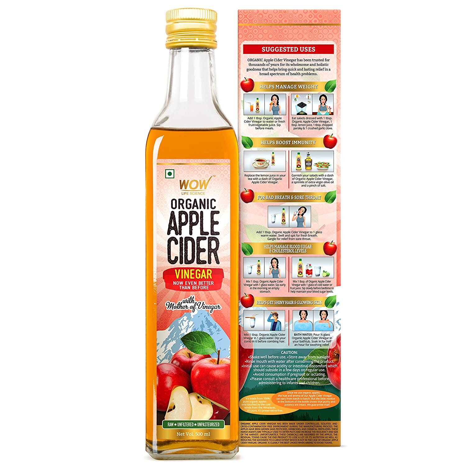 WOW Raw Apple Cider Vinegar - with strand of mother - Not from concentrate (500mL Glass Bottle)