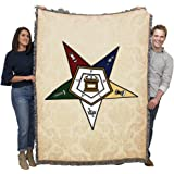 Pure Country Weavers Order of The Eastern Star OES Masonic Blanket Throw Woven from Cotton Made in The USA 72x54