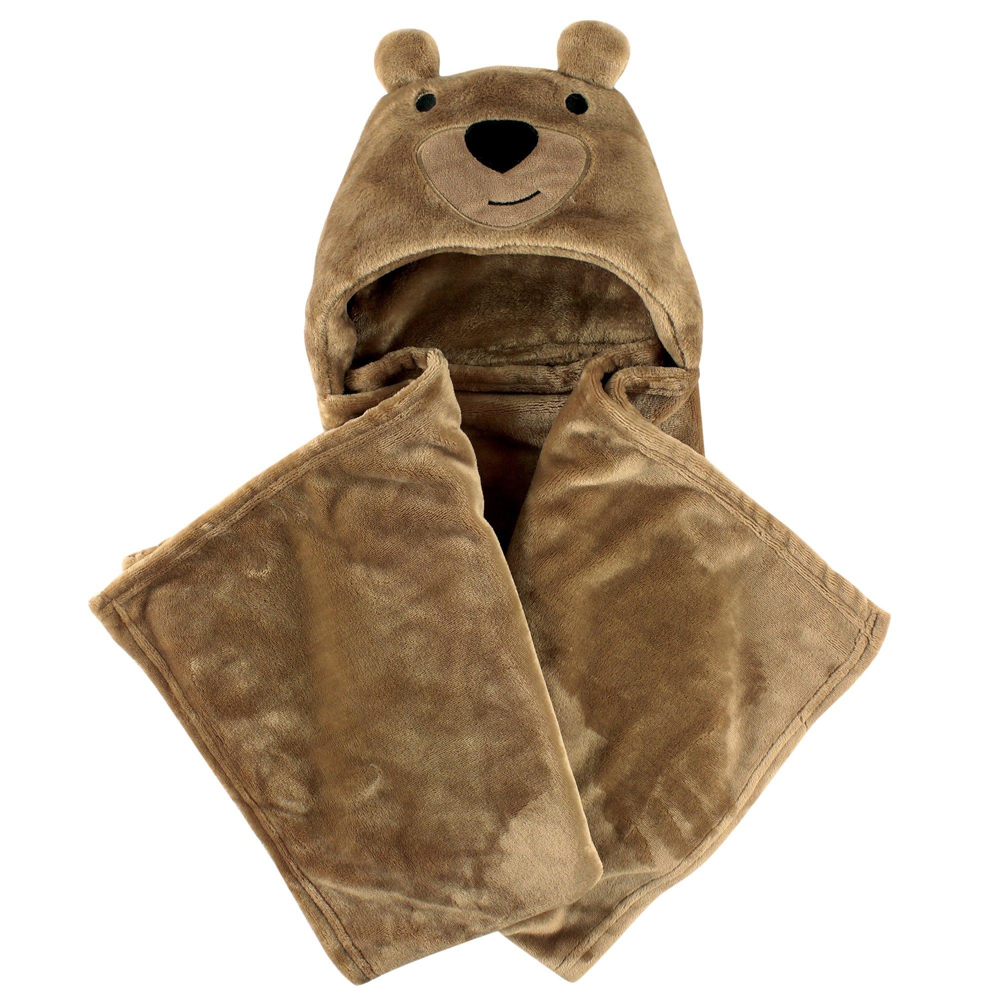 Amazon Com Hudson Baby Hooded Plush Blanket Light Brown