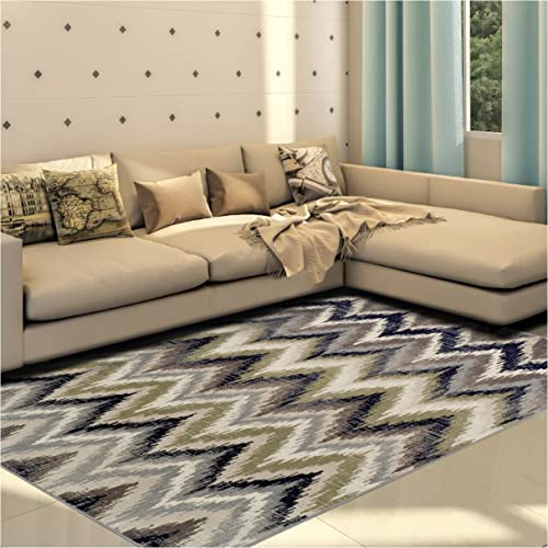 Superior 8mm Pile Height with Jute Backing, Designer Inspired Ikat Chevron Pattern, Fashionable and Affordable Woven Rugs, 8 x 10 Rug, Brown