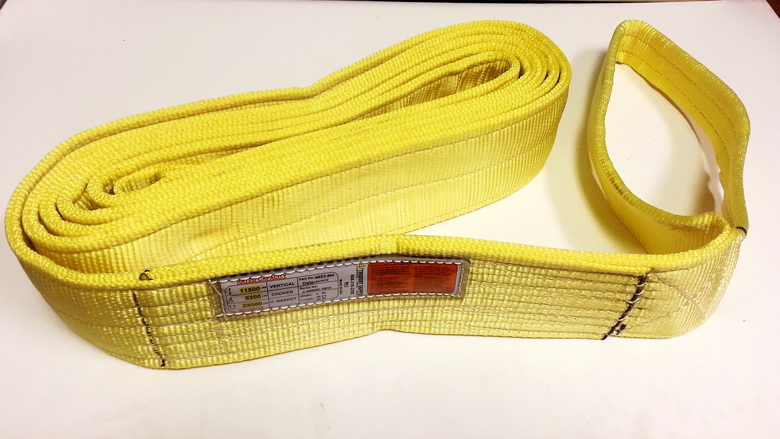 Trident Sling / Tow Strap. NEE2-904X20TS. This (2-PLY) Type3 Flat E/E Heavy Duty Nylon / Polyester Web Sling Is Ideal For All Lifting, Rigging, Towing, Recovery and Tie-Down Needs! (4'' X 20')