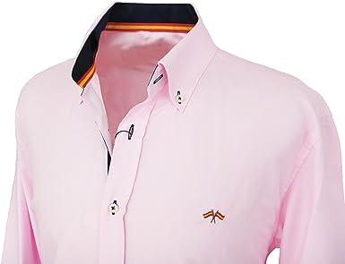 Pi2010 Camisa Bandera de España Hombre Rosa con Marino, Fabricado ...