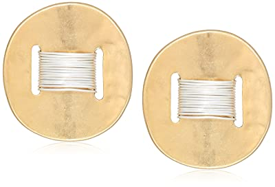 Robert Lee Morris Women's Bound to Basics Two Tone Wire Wrap Disc Clip-On Earrings