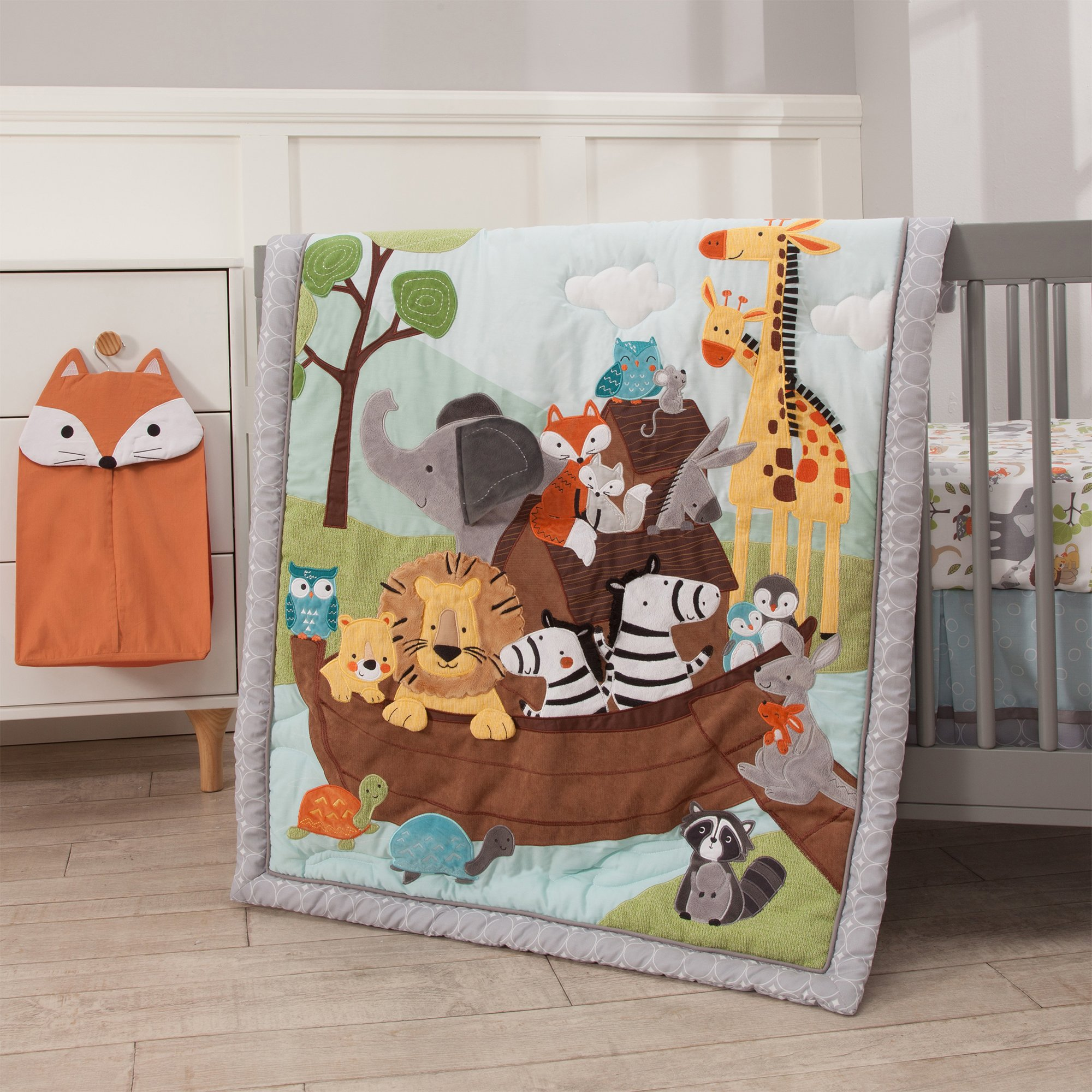 Lambs & Ivy Two of A Kind Noah'S Ark Animals 4 Piece Crib Bedding Set, Blue/Gray by Lambs & Ivy (Image #8)