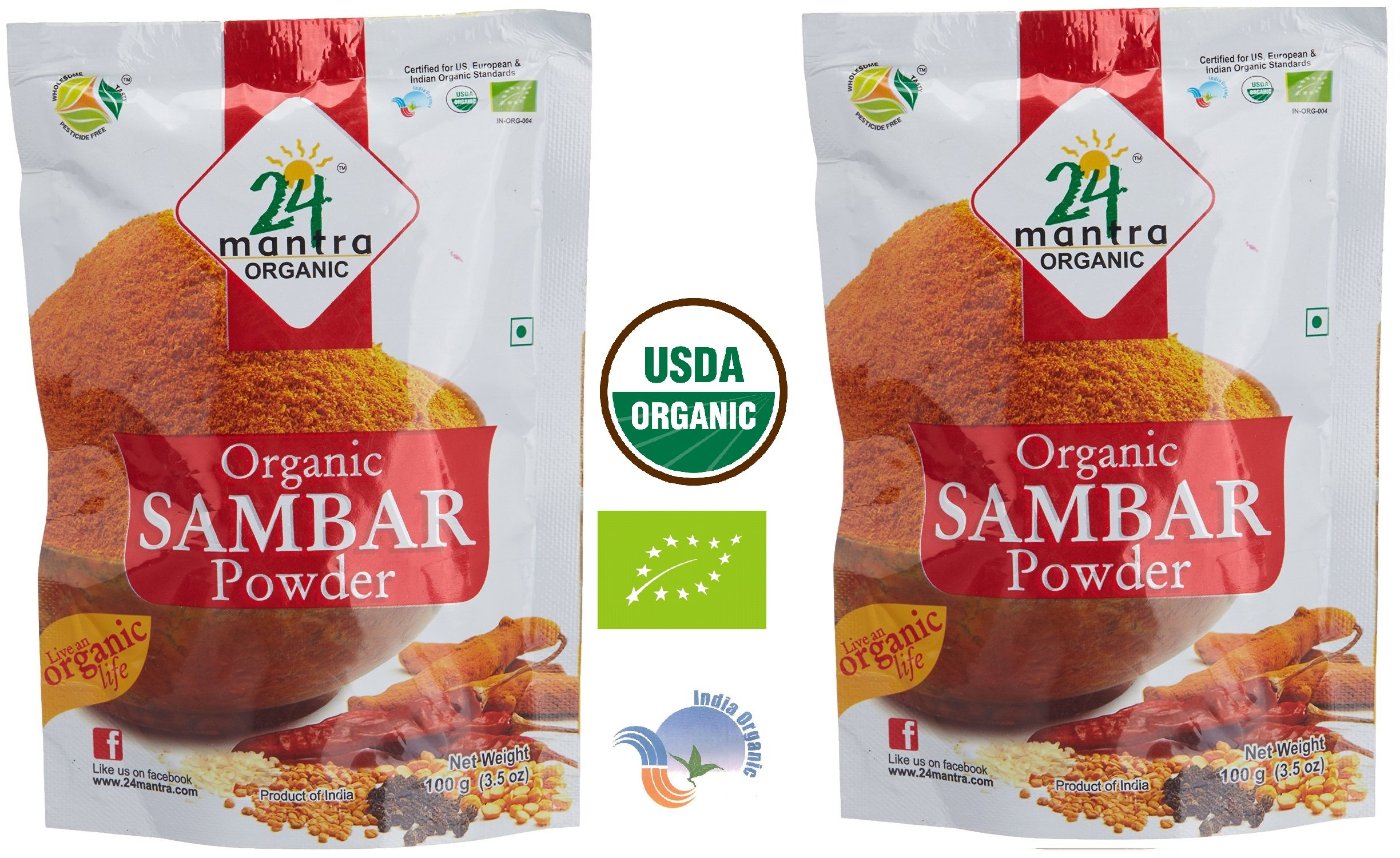 Organic Sambar Powder - ★ USDA Certified Organic - ★ European Union Certified Organic - ★ Pesticides Free - ★ Adulteration Free - ★ Sodium Free - Pack of 2 X 3.5 Ounces (7 Ounces) - 24 Mantra Organic