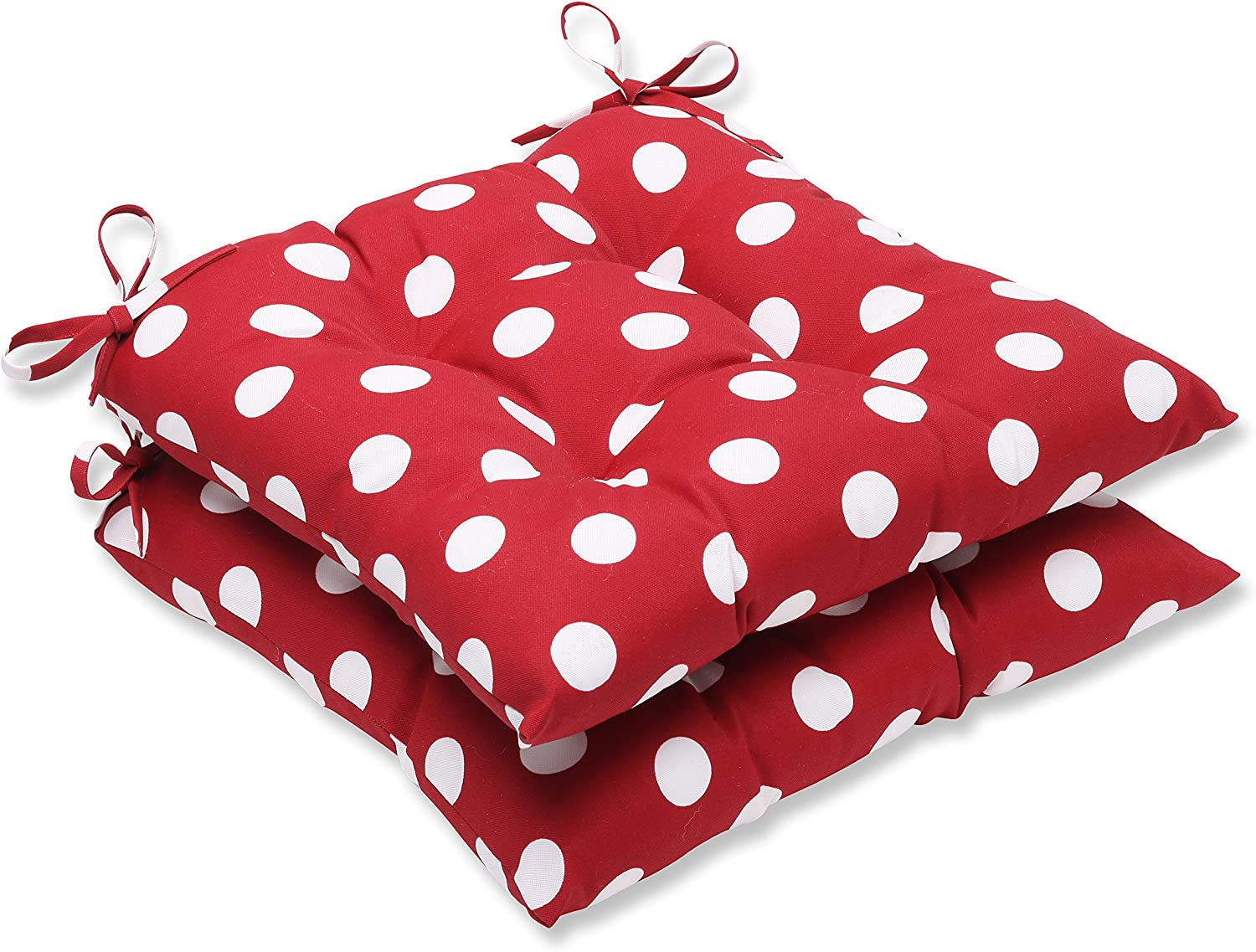 Pillow Perfect Indoor/Outdoor Polka Dot Tufted Seat Cushion, Red/White