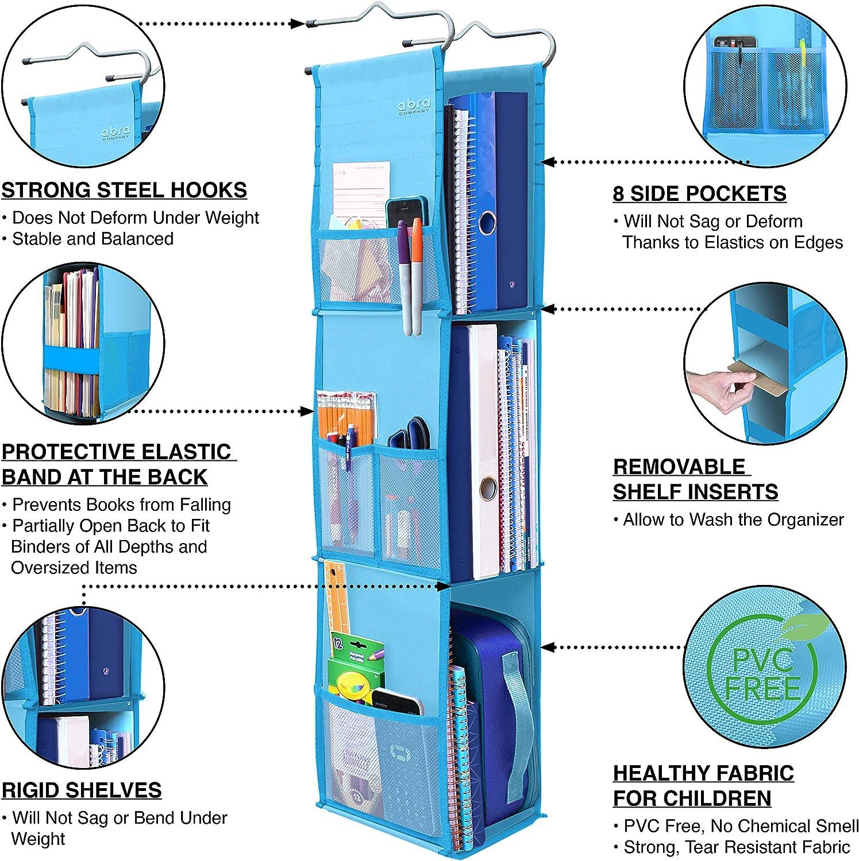 Storage Blue//Green Adjustable School Locker Shelf from 3 to 2 Shelves Upgraded Work Eco-Friendly Fabric Healthy for Children 3 Shelf Hanging Locker Organizer for School Abra Company Gym