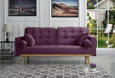 Mid Century Modern Tufted Velvet Fabric Sofa (Purple)