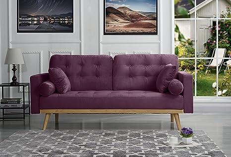 Marvelous Mid Century Modern Tufted Velvet Fabric Sofa Purple Spiritservingveterans Wood Chair Design Ideas Spiritservingveteransorg