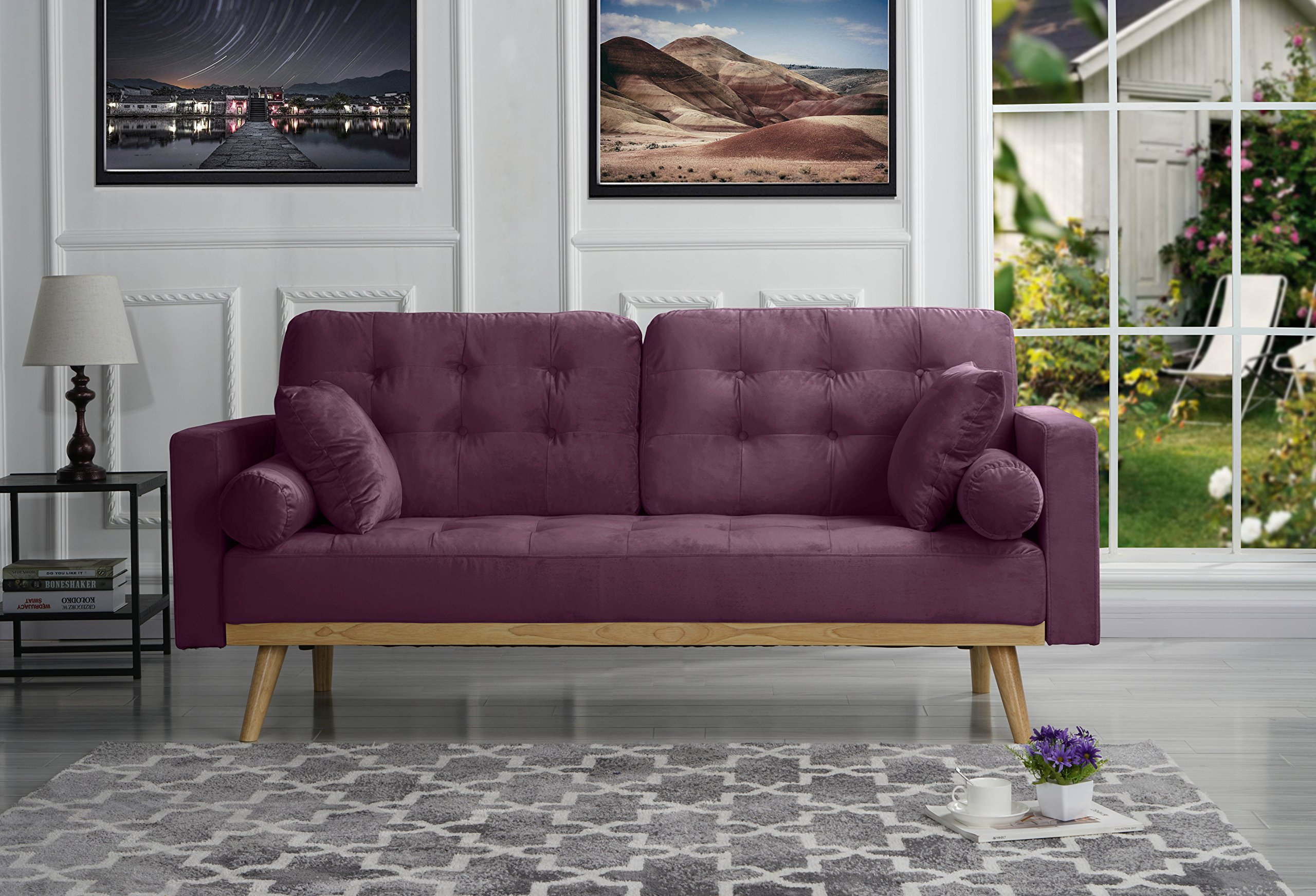 Sofamania Mid-Century Sofas, Purple - Modern mid century sofa in various colors - Includes 2 bolster side pillows and 2 square pillows in the same fabric Soft hand picked velvet fabric in tufted button design for a touch of sophistication while still giving your living room a modern feel Super comfortable and stylish - this sofa is perfect for a small space and the colors available are sure to fit your home decor. - sofas-couches, living-room-furniture, living-room - 91rxSkwiJOL -