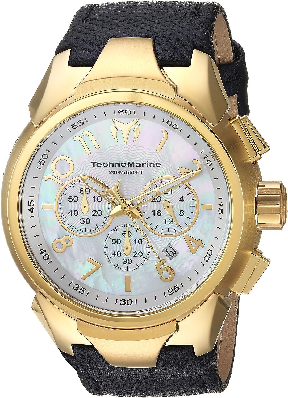 Technomarine Men s Sea Stainless Steel Quartz Watch with Leather Calfskin Strap, Black, 30 Model TM-715023