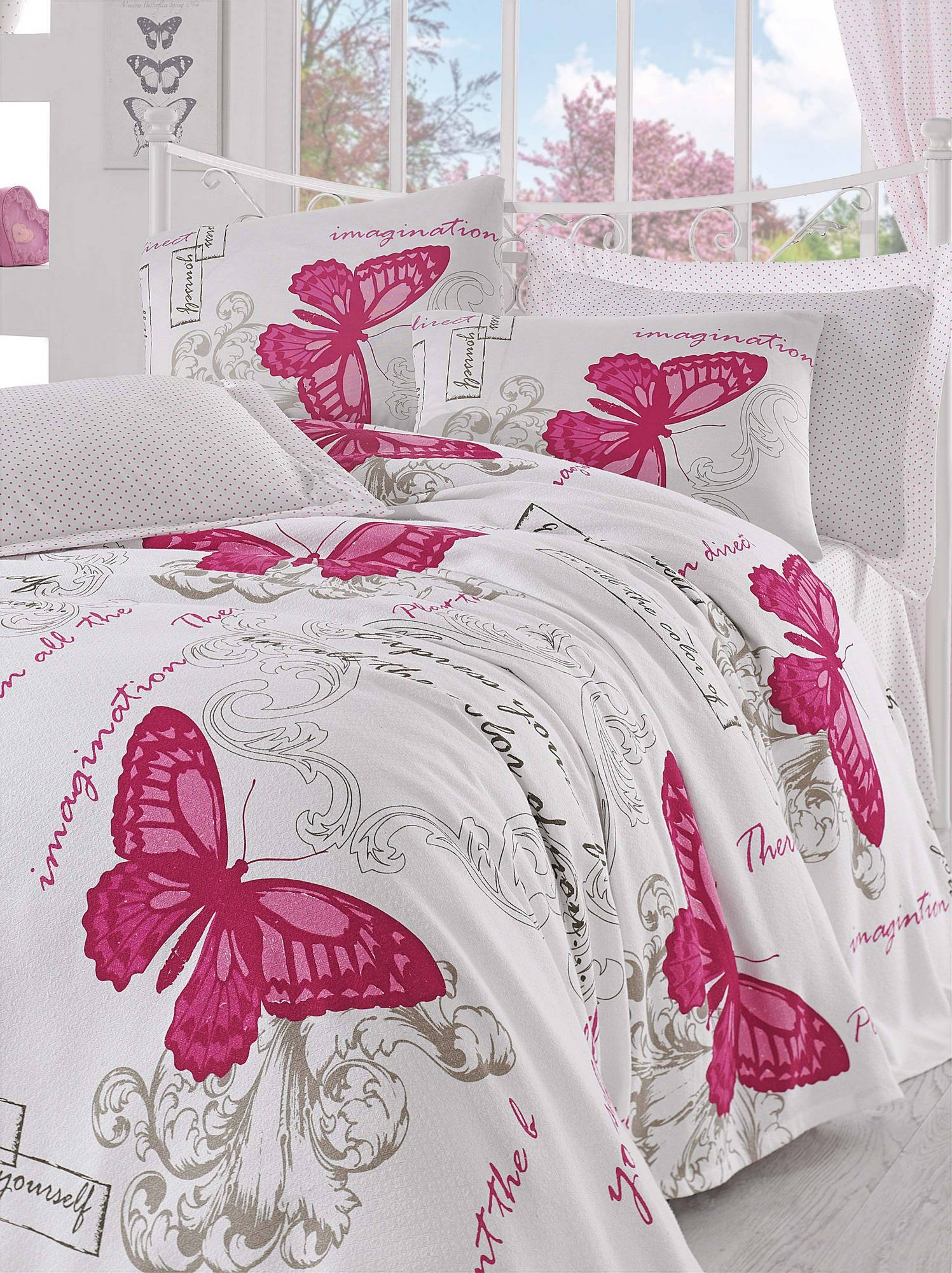 LaModaHome Luxury Soft Colored Bedroom Bedding 100% Cotton Double Coverlet (Pique) Thin Coverlet Summer/Article Butterfly Wing Bird Animal Motif Design/Double