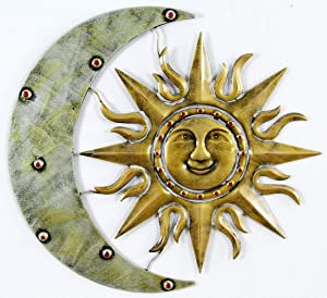 "Aztec Sun And Moon Metal Wall Decor, Metal Sun and Moon Wall Decor, Metal Sun Decor, Metal Moon Decor (25.5"" W x 23"" H)"