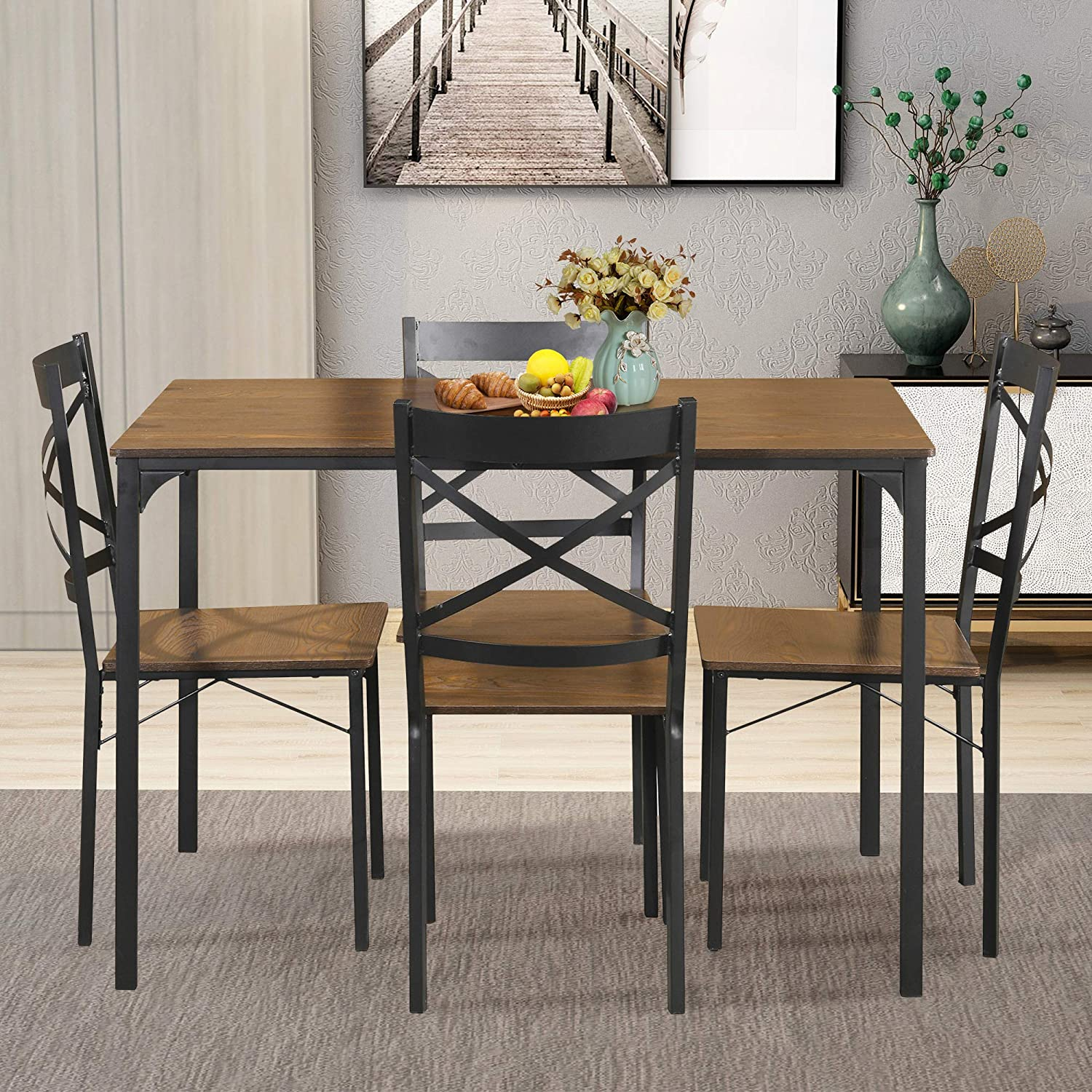 G-house 5-Piece Dining Set Industrial Style Wooden Kitchen Table and Chairs