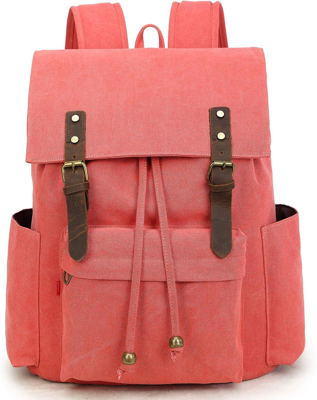 La Packmore Canvas Backpack Vintage Rucksack Daypack Bookbag Drawstring Bag Knapsack for School College Fits Up To 17 Inch Laptop (Coral)