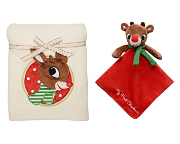 5f6253a0d2 Amazon.com   Rudolf My First Christmas Blanket and Plush Security Toy with  Rattle Head   Baby