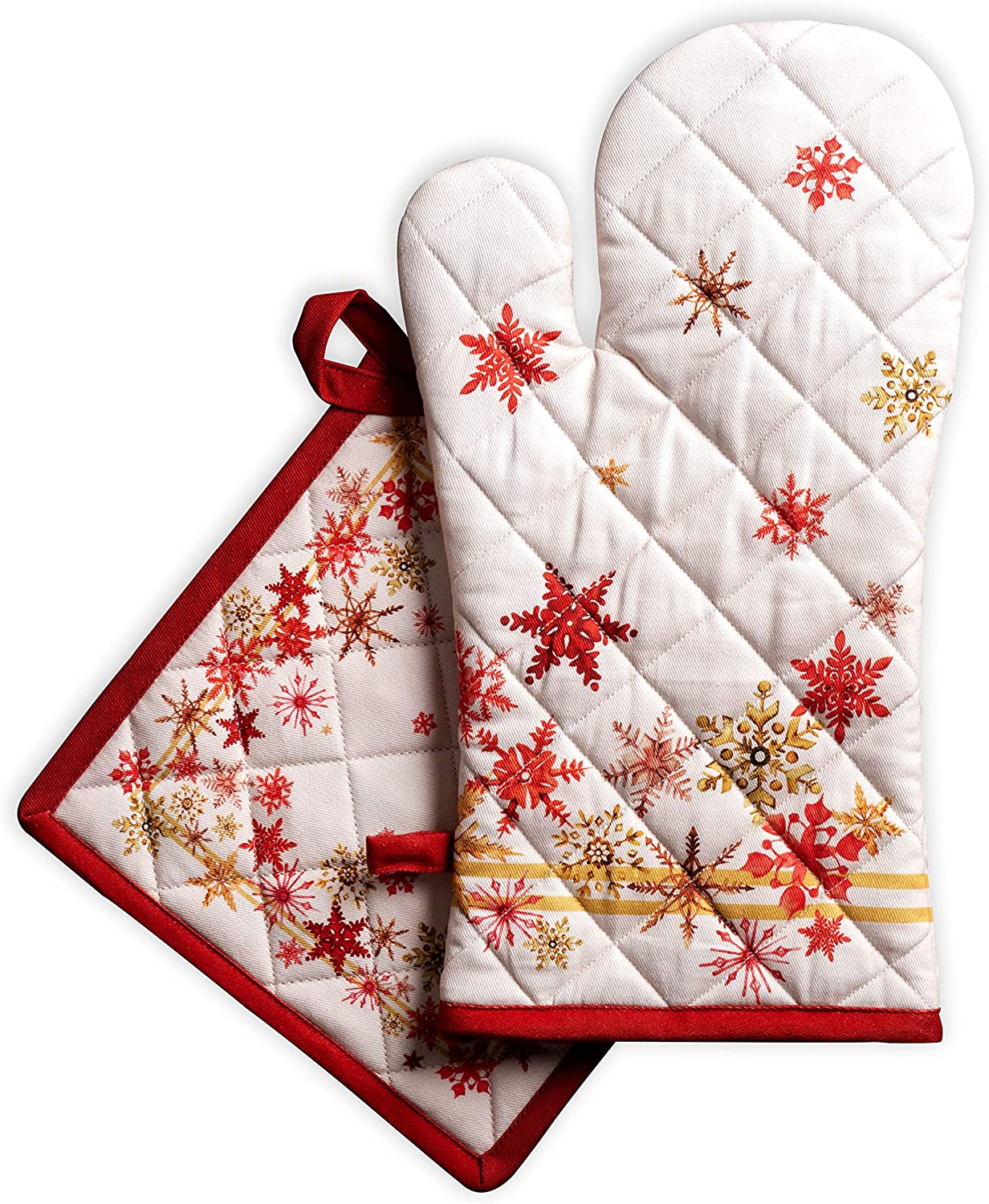 Maison d' Hermine Crystal Star 100% Cotton Set of Oven Mitt (7.5 Inch by 13 Inch) and Pot Holder (8 Inch by 8 Inch). Perfect for Thanksgiving and Christmas